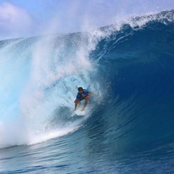 Spain's Aritz Aranburu rides a wave during the 14th edition of the Bi